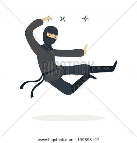 Ninja assassin character in a full black costume jumping and throwing shurikens, Japanese martial art vector Illustration on a white background