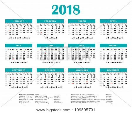 2018 yearly american calendar. Weeks numbered, moon, federal holidays.