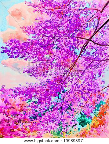 Watercolor painting original landscape colorful of wild himalayan cherry flowers tree in sky and cloud background