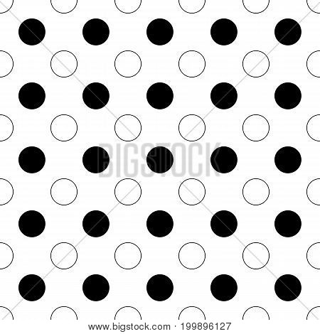 Seamless abstract monochrome polka dot pattern - simple halftone vector background graphic from circles