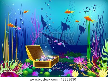 Undersea vector illustration with sunk ship and chest with gems for games and sites