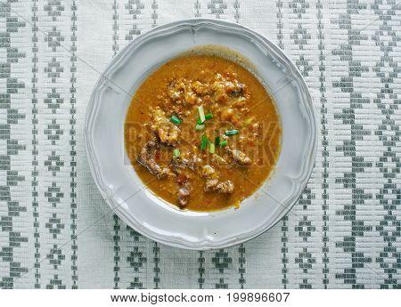 Gebundene Ochsenschwanzsuppe -German Oxtail soup close up  traditional meal close up  traditional meal