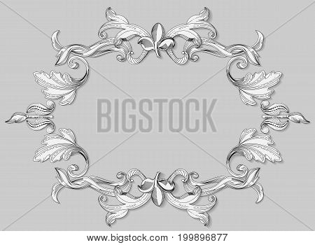 Illustration black and white baroque engraving on paper. Floral ornament renaissance era is presented in the form of scrollwork leaves. Design vintage silhouette is of the same beautiful elemenov with shadows forming a volume of decoration antique frames