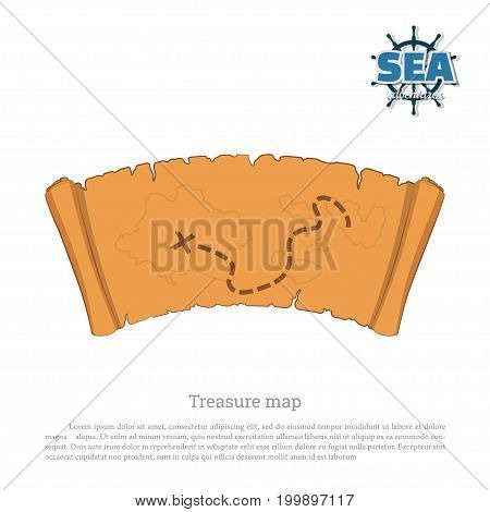 Pirate map on white background. Treasure hunters. Old scroll in cartoon style. Vector illustration