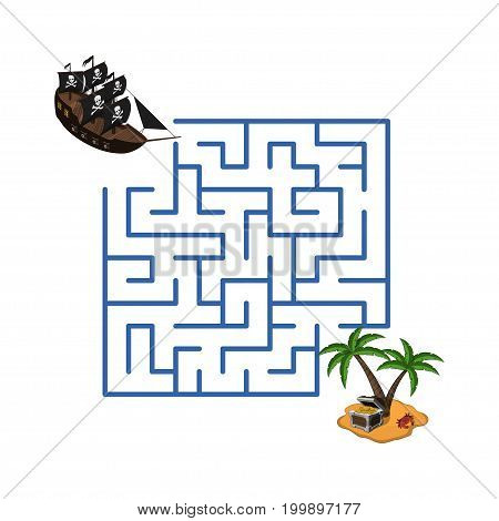 Maze in cartoon style. Pirate ship and treasure island. Children's game labyrinth. Kids puzzle. Vector illustration