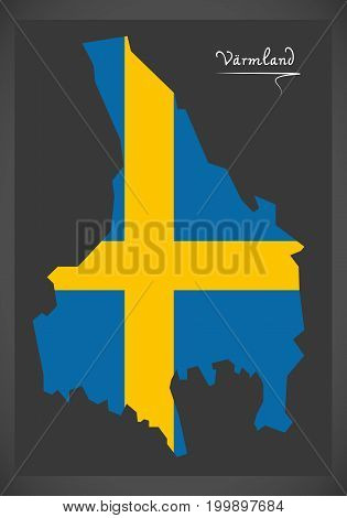 Varmland Map Of Sweden With Swedish National Flag Illustration