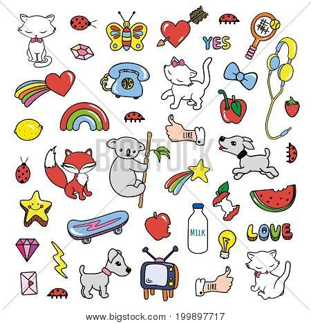 Stickers collections in pop art style isolated on white background. Trendy fashion chic patches pins badges design set in cartoon 80s-90s comic style. Vector illustration.
