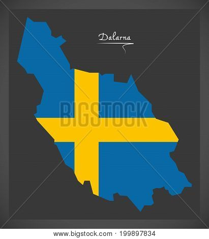 Dalarna Map Of Sweden With Swedish National Flag Illustration