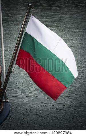 Bulgarian flag flying from boat on Black Sea