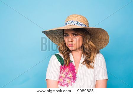 Portrait of a beautiful woman thinking and looking sad