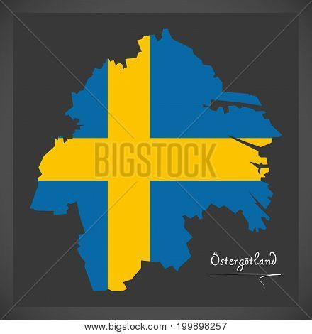 Ostergotland Map Of Sweden With Swedish National Flag Illustration