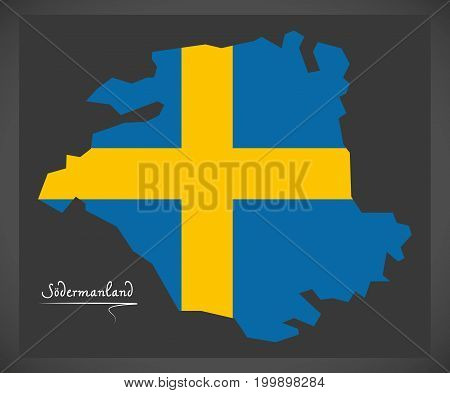 Sodermanland Map Of Sweden With Swedish National Flag Illustration