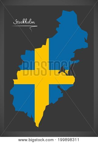 Stockholm Map Of Sweden With Swedish National Flag Illustration
