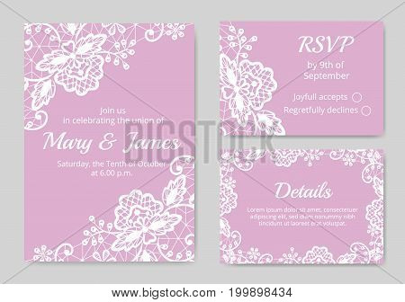 Template of wedding cards with lace border on pink background