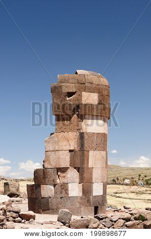 Peru Chullpas (funerary towers) in archaelolgical complex of Sillustani near Puno