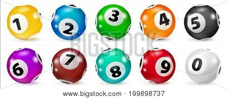 Illustration Colorful Bingo. Lottery Number Balls. Colored balls isolated. Bingo ball. Bingo balls with numbers. Set of colored balls. Realistic Illustration. Lotto concept.