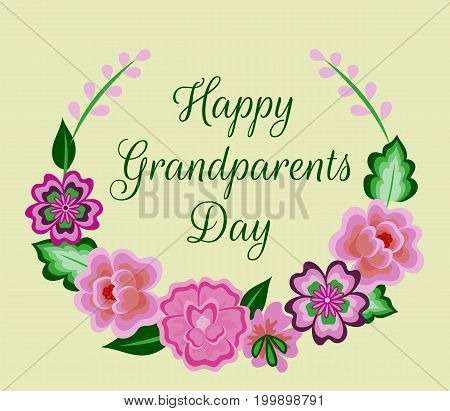 Happy Grandparents Day card with floral wreath
