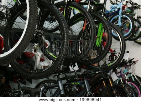 Many different bicycles in shop