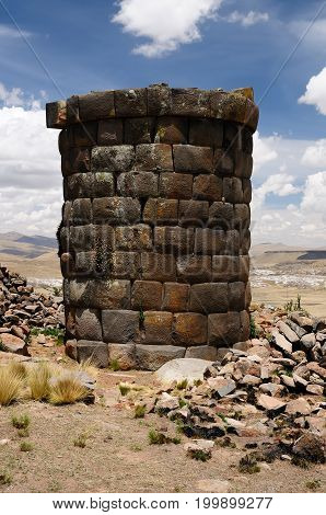Peru Inca prehistoric ruins in Kutimpu its modest number of well-preserved chullpas built by the Colla people near Puno Titicaca lake area