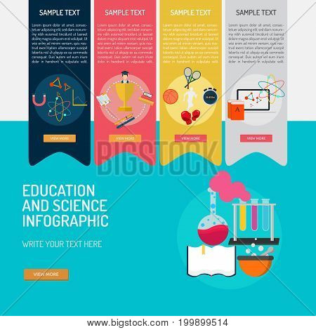 Education and Science Infographic | Set of great infographic flat design illustration concepts for education, science, study and much more.