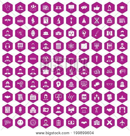 100 intelligent icons set in violet hexagon isolated vector illustration