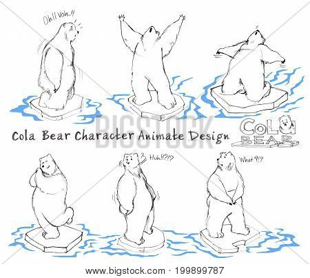 Cola Bear cartoon character design acting animate step has knees stunned amazed shouting backward arms outstretched what confuse happy impressed shy. All hand drawn with word and pencil texture.