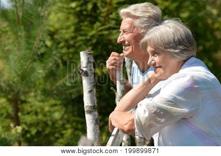 portrait of beautiful caucasian senior couple smiling