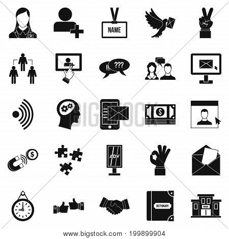 Talk icons set. Simple set of 25 talk vector icons for web isolated on white background