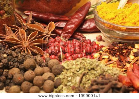 Various spices on wooden background. Assortment of Thai food Cooking ingredients