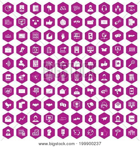 100 interaction icons set in violet hexagon isolated vector illustration
