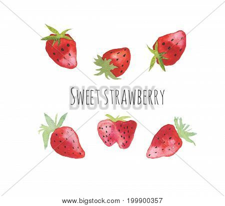 Watercolor painting of fresh strawberries. Hand drawn illustration for design, cards, textile and more