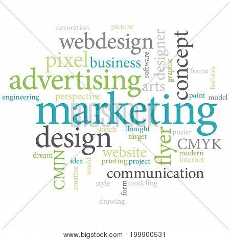 Graphic designer or marketing agency word cloud. Blue green shades design.