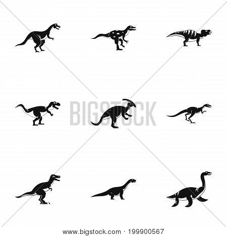 Different dinosaur icons set. Simple set of 9 different dinosaur vector icons for web isolated on white background
