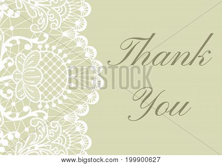 Thank you card with white lace border on green background