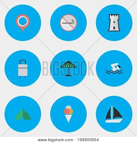 Elements Sorbet, Schooner, Pool And Other Synonyms Camping, Boat And Tower.  Vector Illustration Set Of Simple Holiday Icons.