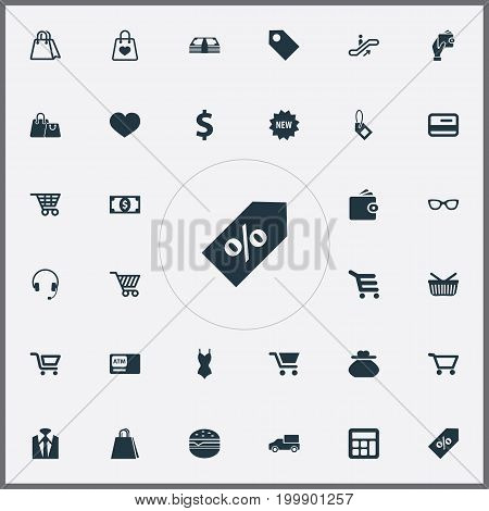 Elements Moving Staircase, Shop Trolley, E-Commerece And Other Synonyms Butty, Currency And Sign.  Vector Illustration Set Of Simple Money Icons.