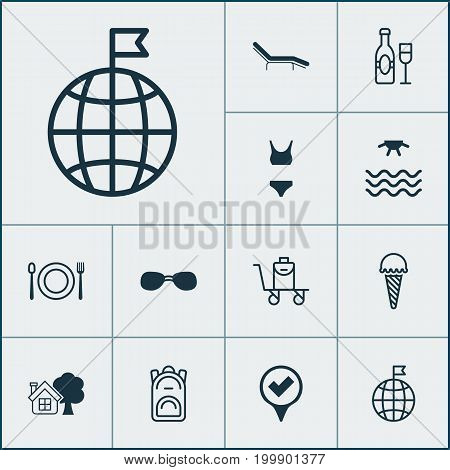 Tourism Icons Set. Collection Of Summer Glasses, Travel Direction, Bathing Costume And Other Elements