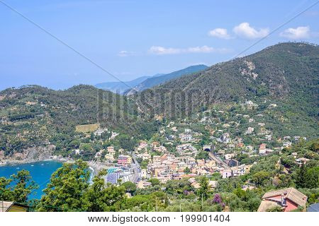 Beautiful daylight view to Bonassola, sea and mountains in Italy. Cinque Terre beauties