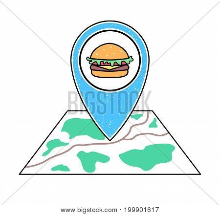 Textured blue geotag icon with hamburger icon pointing at a map. GPS navigation concept. Vector illustration for mobile device smartphone app website. Fast food restaurant location guide. Cafe plan.