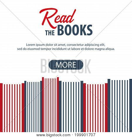 Banner Read The Book. Stack Of Books. Vector Illustration.