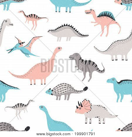 funny dinosaurs seamless pattern. Cute childish dino background. Colorful hand drawn texture