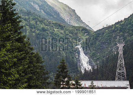 Carpathians nature landscape waterfall in Fagaras mountains at Romania spectacular wilderness scenery.