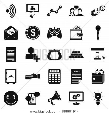 Profit icons set. Simple set of 25 profit vector icons for web isolated on white background