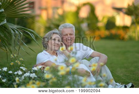 portrait of beautiful senior couple sitting   in the park