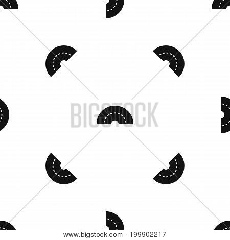Round turning road pattern repeat seamless in black color for any design. Vector geometric illustration