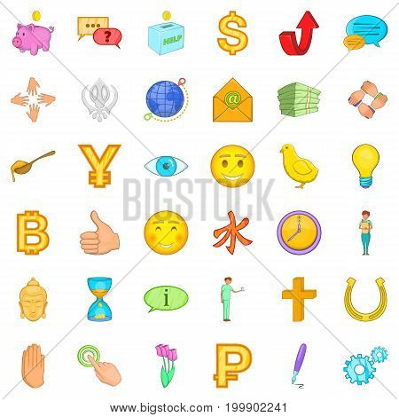 Donation icons set. Cartoon style of 36 donation vector icons for web isolated on white background