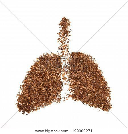 Human Lung Made From Tobacco Isolated On White Background.