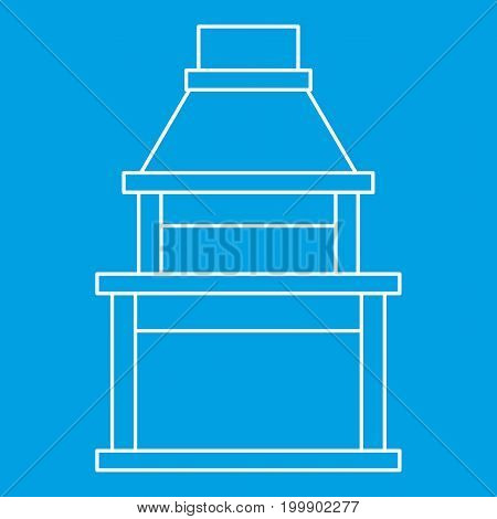 Big barbecue grill icon blue outline style isolated vector illustration. Thin line sign