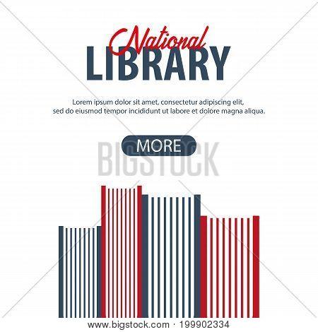 Banner National Library. Stack Of Books. Vector Illustration.
