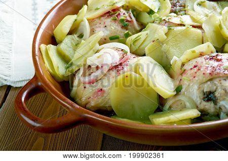 Buffalo Chicken and Roasted Potato Casserole , close up